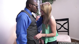 Alluring blonde Valerie White takes a BBC while her hubby watches