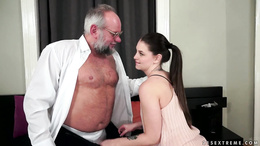 Angelina Brill sucking an old mans cock