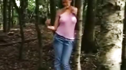 Kinky blonde flashing in the woods