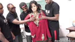 Cute Arabian pornstar Nadia Ali gets fucked by black monster cocks