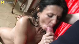 Petite hot brunette blows a huge throbbing cock before wild sex