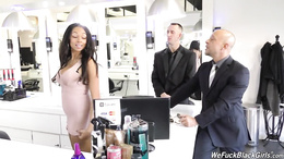 Bethany Benz gets bent over and pounded by two large cocks in salon
