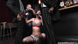 Two hung black dudes fuck hot Jada Stevens in a bar and hubby watches