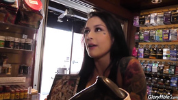 Gloryhole extreme interracial along cock sucking brunette Katrina Jade