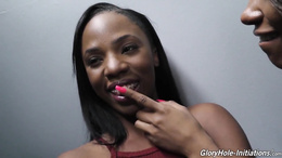 Ebony sluts, Jezabel Vessir and Sarah Banks, impressive gloryhole cock sharing