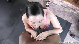 Sporty Asian Karlee Grey sucks and fucks a big black cock in POV