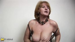 Amateur granny shows off her big ass and saggy tits playing with a toy