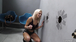 Tiffany Watson enjoys the pleasures of large black dick in a gloryhole