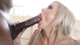 Lavish blonde babe Nina Elle sucks a huge black cock and gets fucked