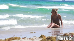 Hot blonde comes back from the beach and gives a hot blowjob