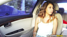 Horny teen pays for her ride with a hot blowjob and fuck in the car