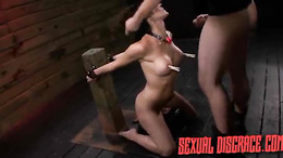 Brunette chick caught in BDSM becomes a sex slave taking hard cock