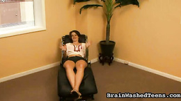 Brunette gets a mouth full of fat cock on her knees as she enjoys sucking