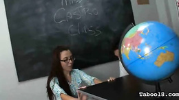 Mature teacher catches her students in her classroom and joins the fun