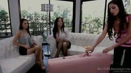 Trinity St. Claire and Celeste Star give Angela Sommers a spicy massage