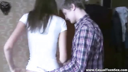 Teen couple gets horny playing on the pc and fuck hardcore style