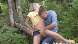 Stunning blonde harlot is out in the woods and she receives a boner