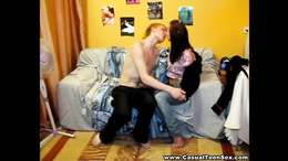 Slender bruntee gives a hot blowjob and rides her teen bf's hard dick