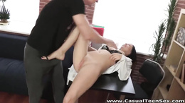 Shaved fresh pussy feels hard sturdy pecker and cums like crazy
