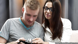 Joyful sensual brunette in glasses seduces her guy for blowjob