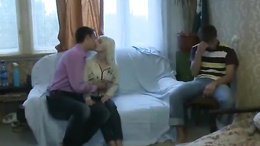 Guy watches while his hot blonde girlfriend gets it on with another