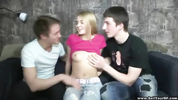Two wild hunks are having explicit fun with a demure blonde honey
