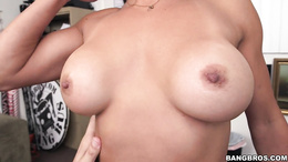 Busty Asian whore Xo Rivera gets pussy fingered and fucked on a table