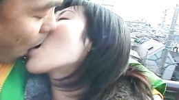 Lovely Japanese babe sucks a hard dick outdoors