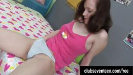 Busty brunette teen Andrea masturbating