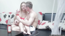 Drunk couple filmed when enjoying erotic sex on the couch