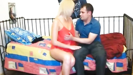 Sensational blondie moans in a hot sexual action with a horny stud