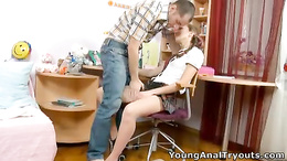Teacher meats horny student in classing then eats tight pussy on desk
