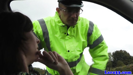 Mature british skank swallows police cum