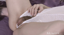MOM Hairy pussy pounded wearing open crotch lingerie