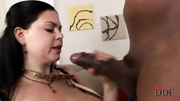 Shione Cooper showving a long black dick down her pretty mouth