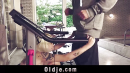 Daring tattoed teen seduces oldman at the gym and fucks