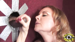 Rampant Janet Mason gets splattered in dick sauce
