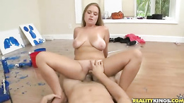 Alluring slut wraps her piss flaps around a huge dick