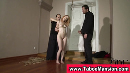 Watch redheaded bound hoe suck dick in fetish threesome