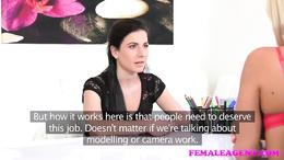 FemaleAgent Sexy agent dominates with strap on dildo
