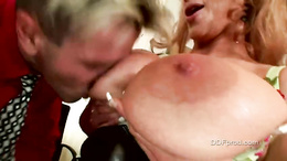 Sharon Pink passionately sucking a massive erect cock like a lollipop