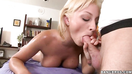 Lexi Swallow spreads her lips round this stiff cock