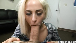 Greedy bitch Jayden Pierson swallows a thick cock down her throat
