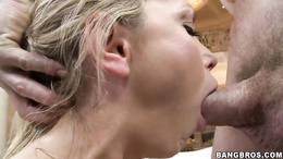 Saucy Nikki Benz gets showered with warm dick juice