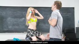 InnocentHigh Sexy blonde teen fucks boyfriend in classr