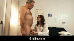 Brunete with glasses suck old dick dry and swap his cum