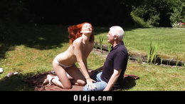 Redhead student learning sex with her old teacher