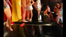 Sweet babes take dicks for facial in a club