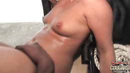 Honey White get the cum of a horny black dude