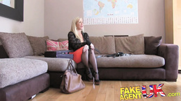 FakeAgentUK Double penetration for big titted Blonde